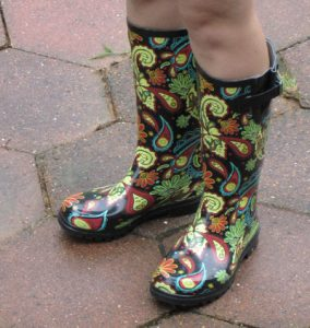 Black Paisley Rain Boots