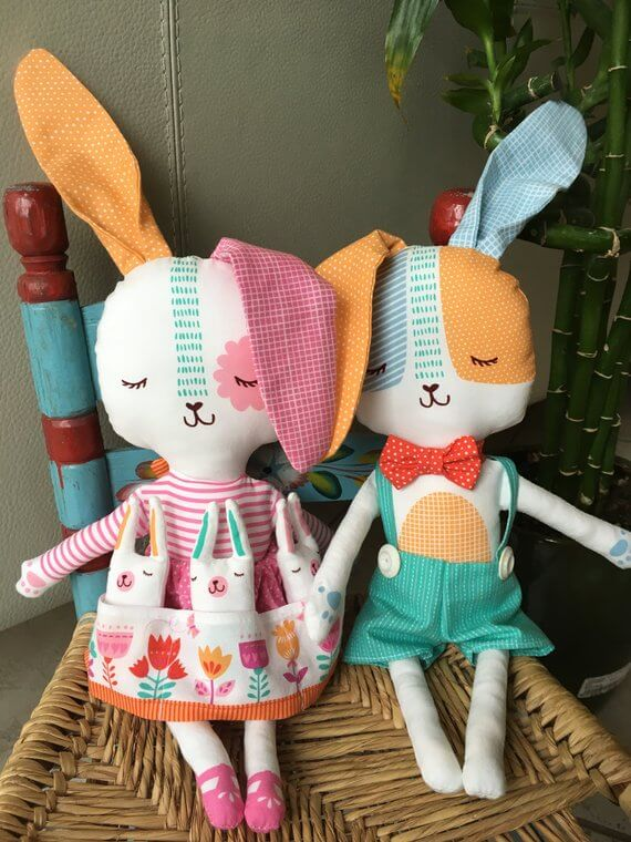 Easter Bunny Dolls with Quilt | Handmade Bunny Doll