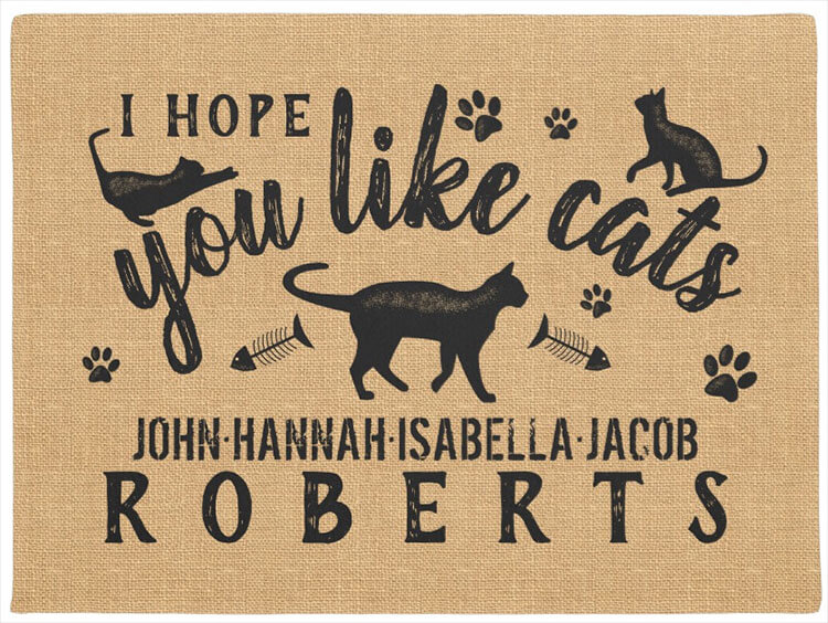 Personalized doormat with cats