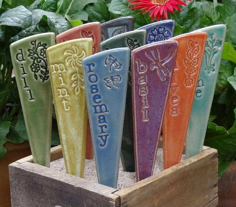 Colorful ceramic garden markers