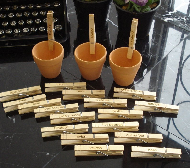 Etched Wood Clip Garden Markers