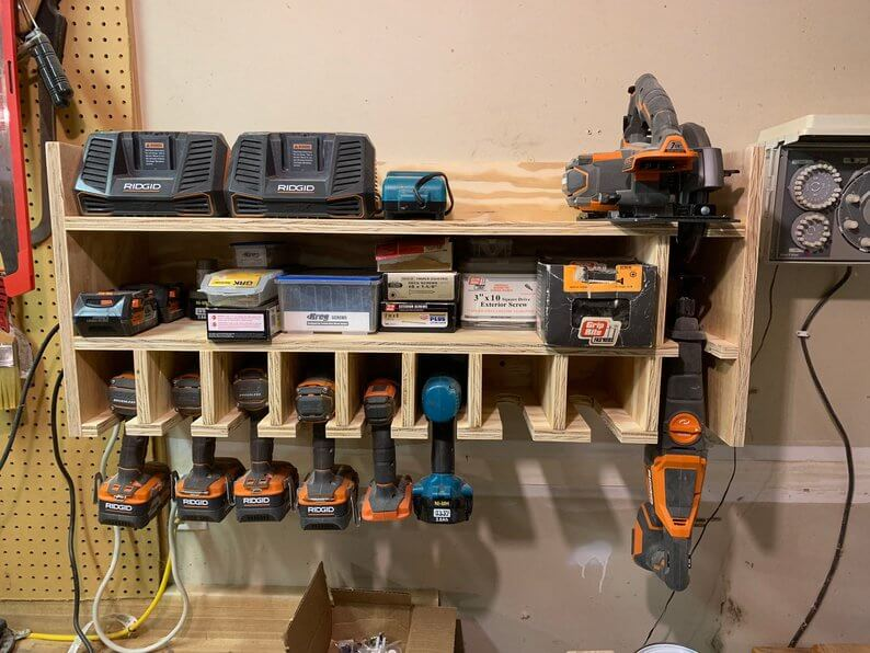 Wood Power Tool Organizer with Slots