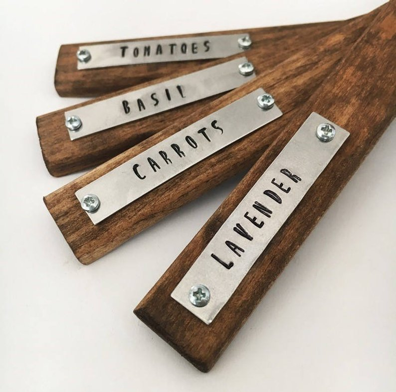 Stained pine wood garden markers with stamped metal