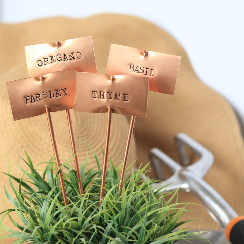 Copper garden markers