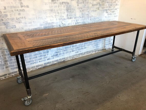 Industrial Kitchen Table on Wheels