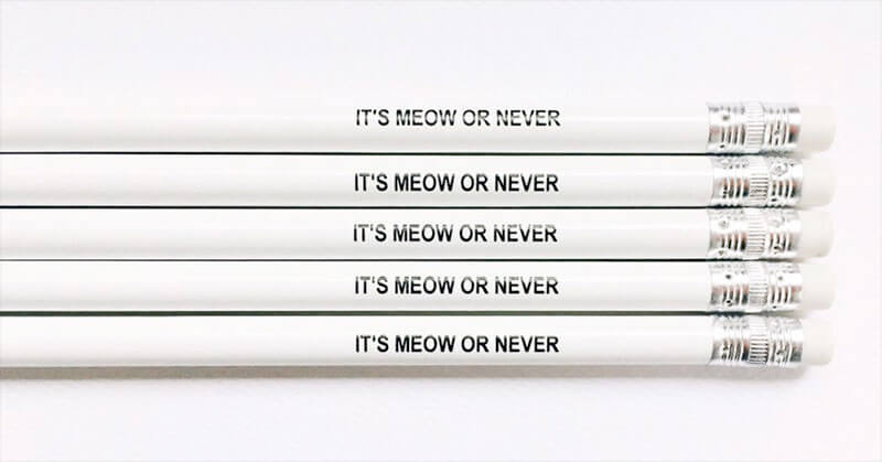 Cat Pencils | Engraved Pencil Gifts | Cat Office Gifts