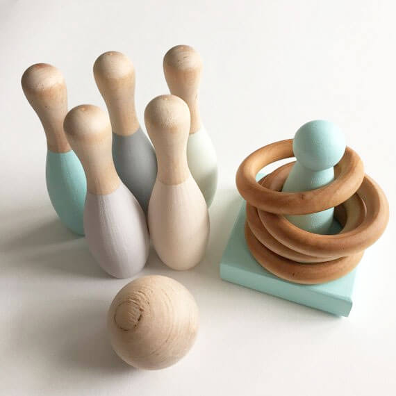 Kids Wood Bowling Set