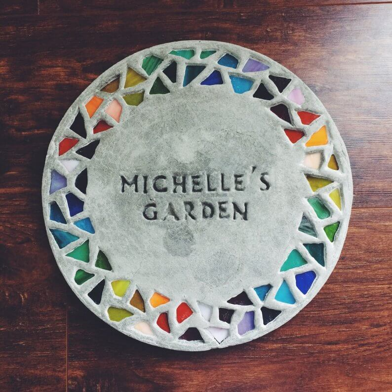 Personalized Garden Stepping Stone with Mosaic Pieces