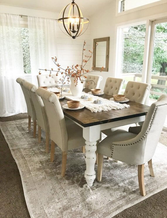 Rustic Farmhouse Table with Spindle Legs