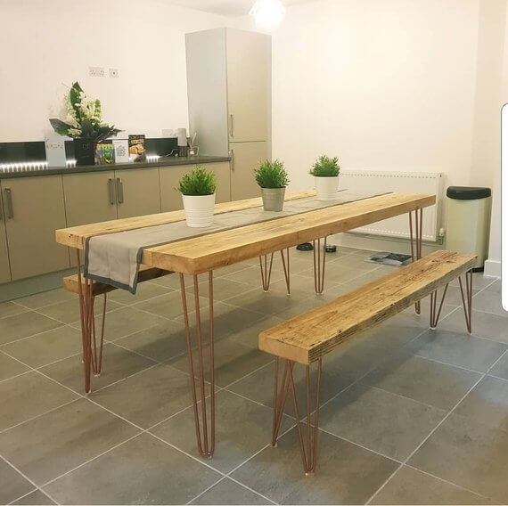 Industrial Table with Reclaimed Timber