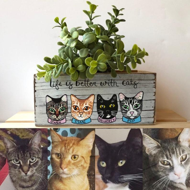 Custom cat face planter for cat mom