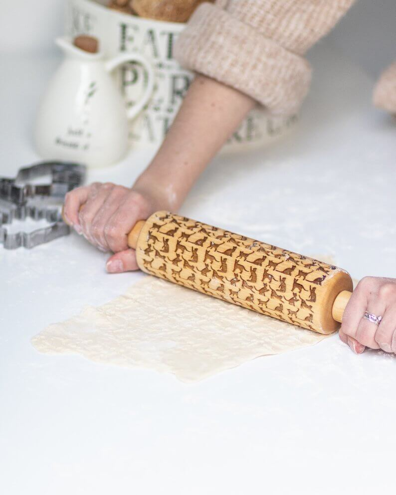 Birch wood rolling pin with cats