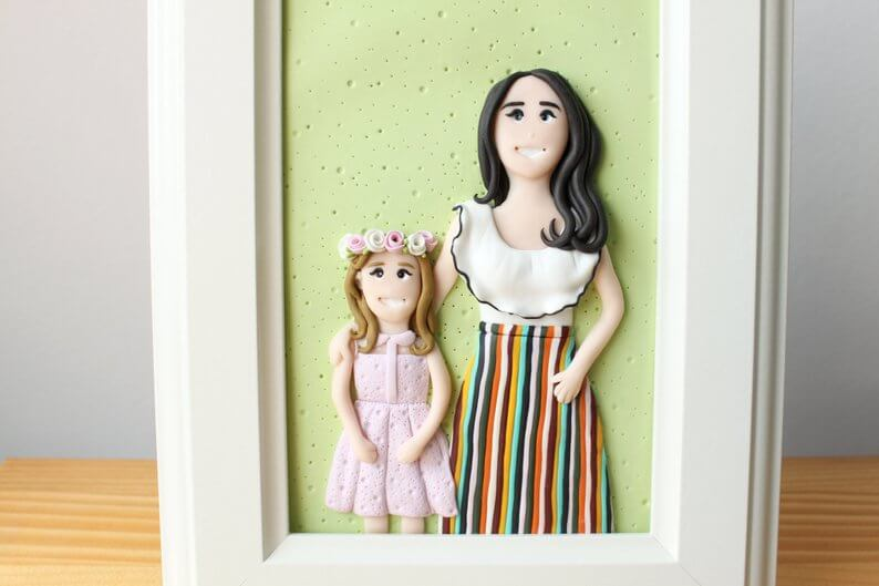 Custom family portrait made from polymer clay