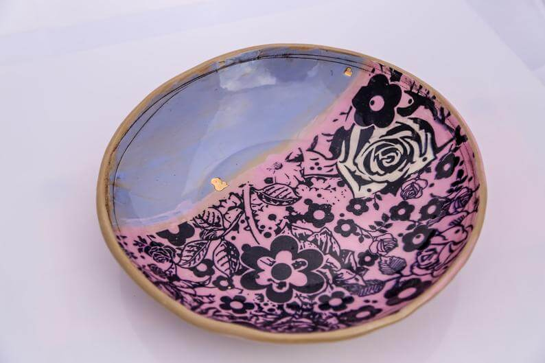 Colorful rustic floral print ceramic bowl