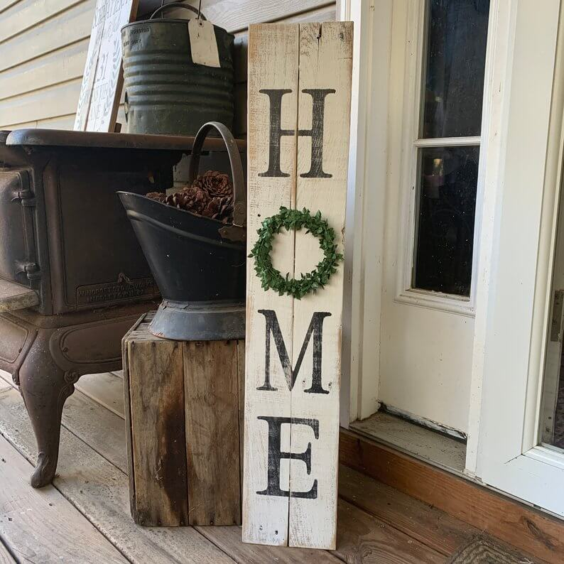 Rustic door sign for home