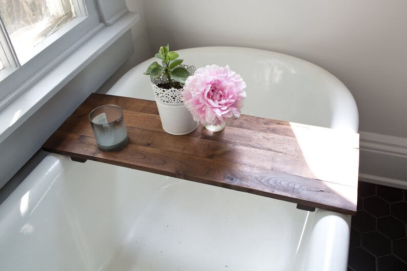 Beautiful wood bathtub tray