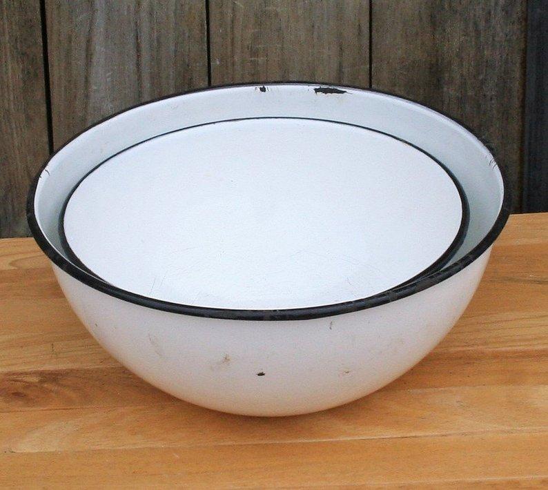 White enamelware mixing bowls
