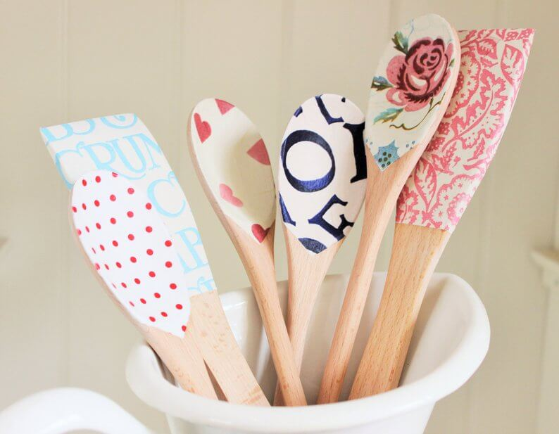 Farmhouse decoupage wooden spoons