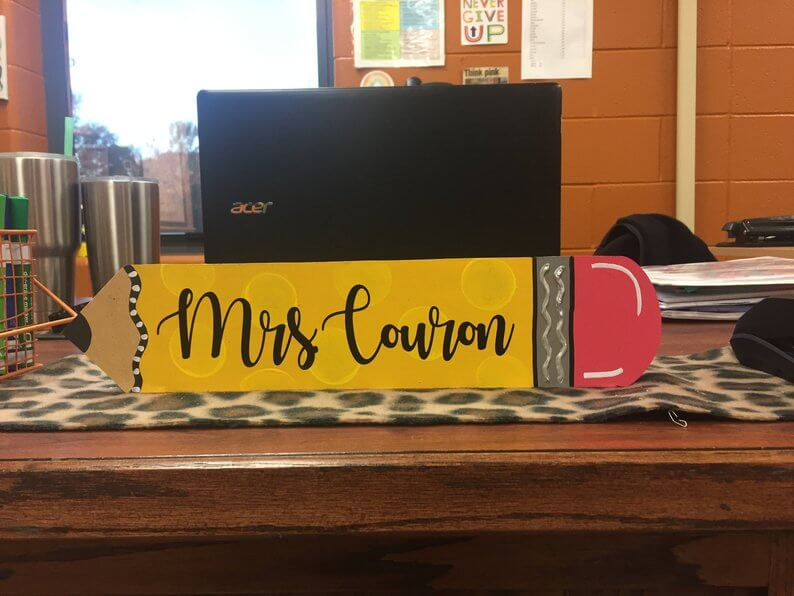 Pencil Desk Plate for Teachers