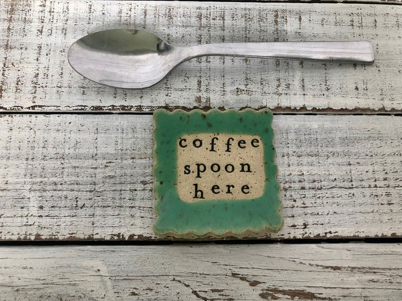 Stamped Ceramic Spoon Rest