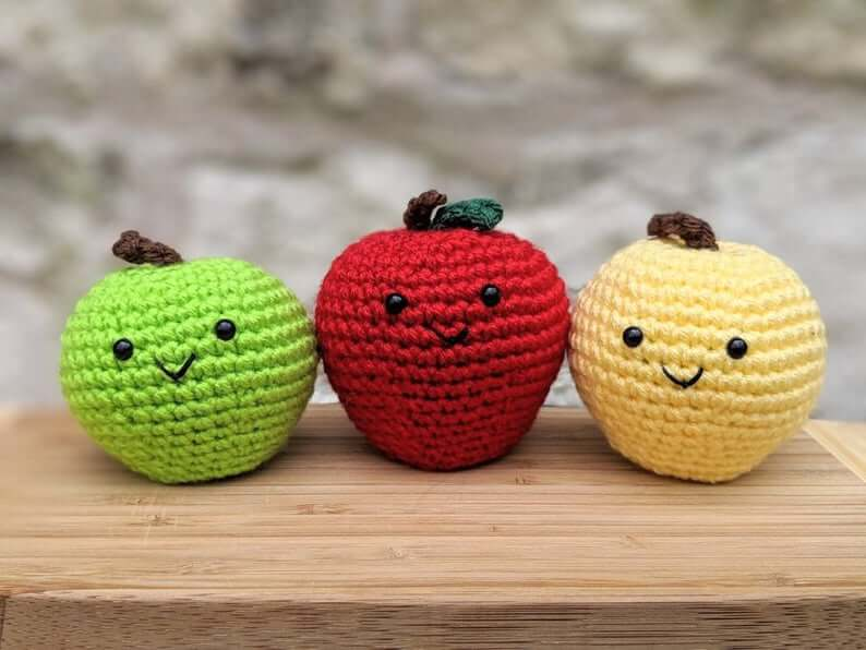 Crochet apple plush stress toy
