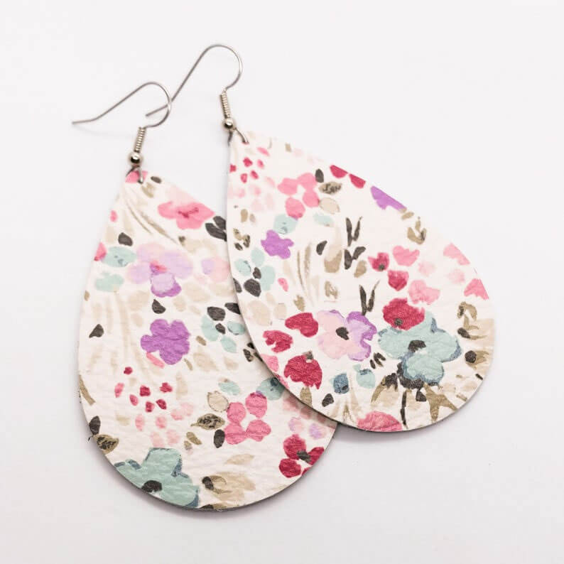 Handmade Leather Earrings with Flowers