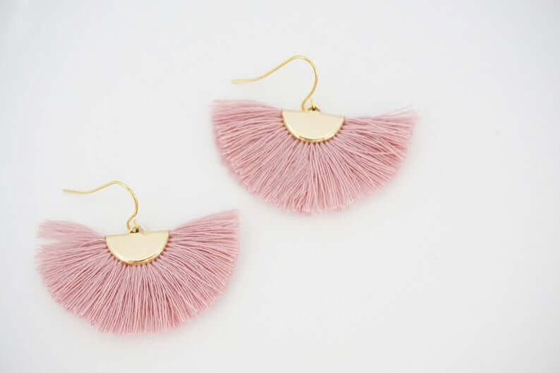 Pink fan tassel earrings