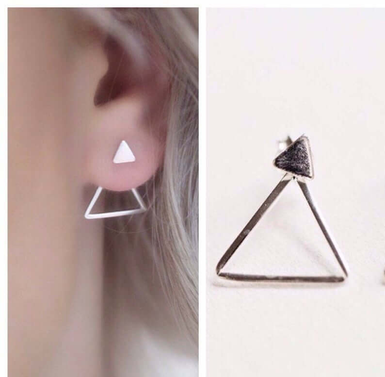 Silver dangle triangle earrings