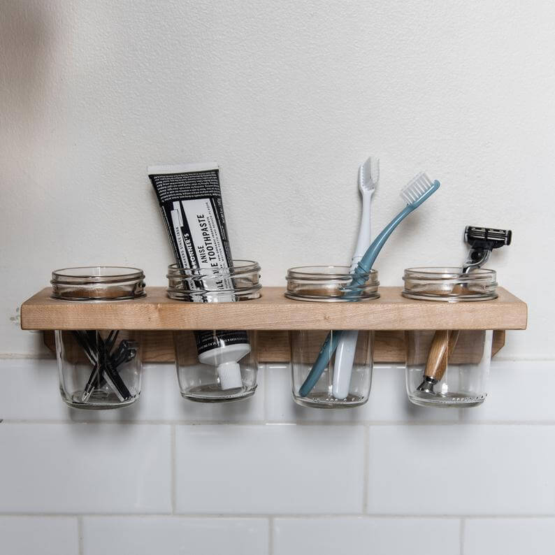 Bathroom mason jar holder