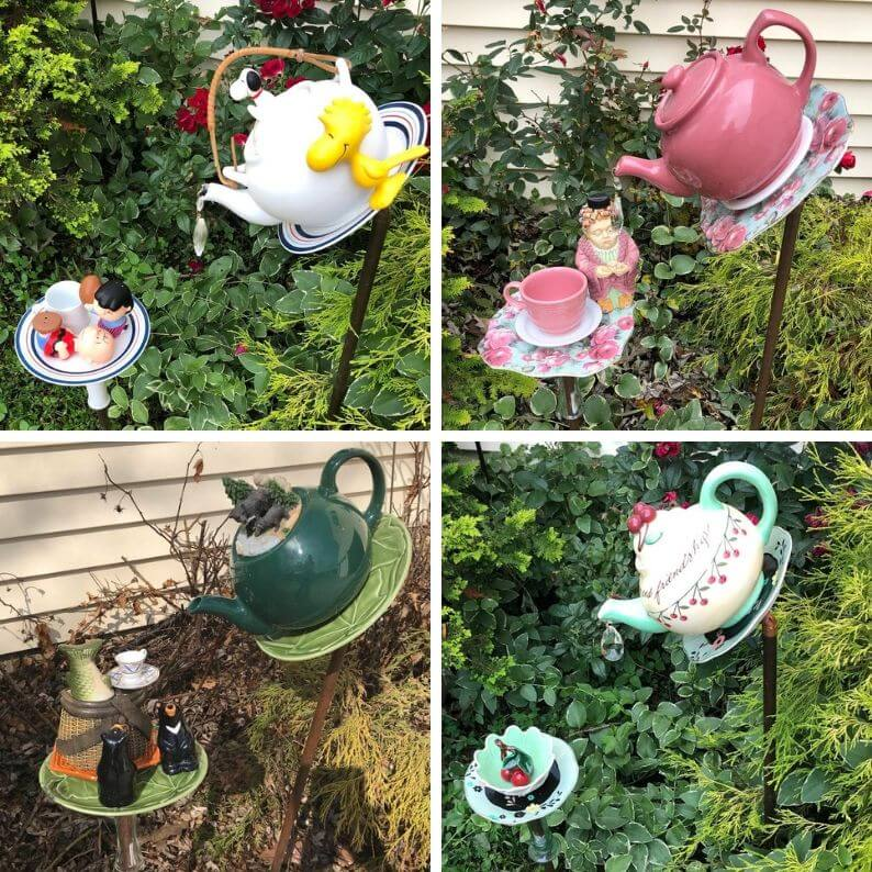 Evie's Elegant Garden Whimsies | Whimsical Garden Decor | Garden  Teapots | Teapot Bird Feeder