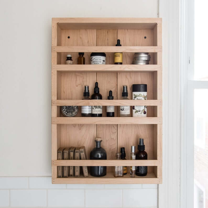 Wood apothecary cabinet for medications