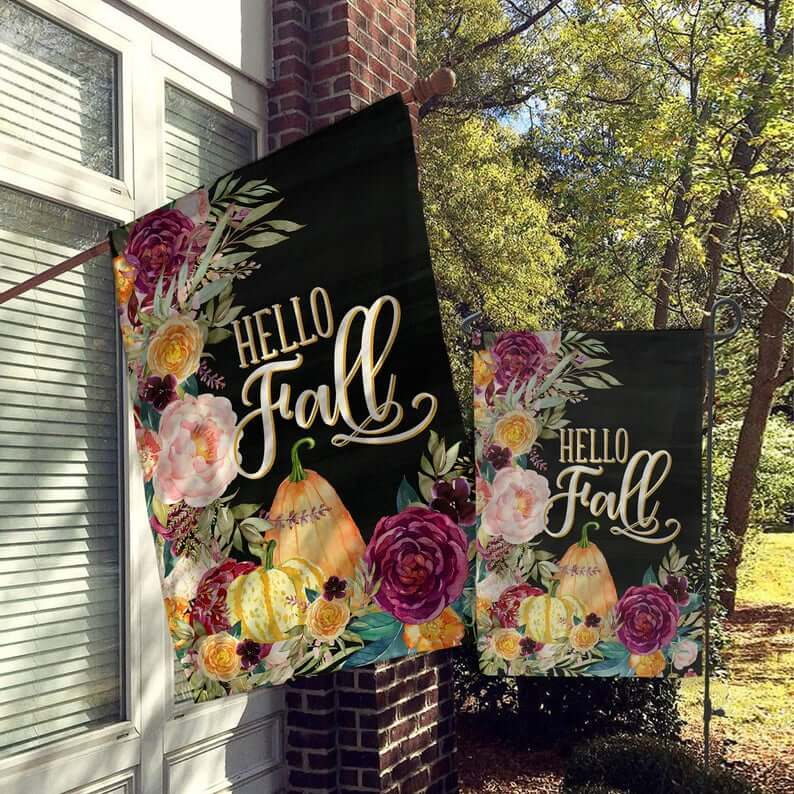 Hello Fall Flag