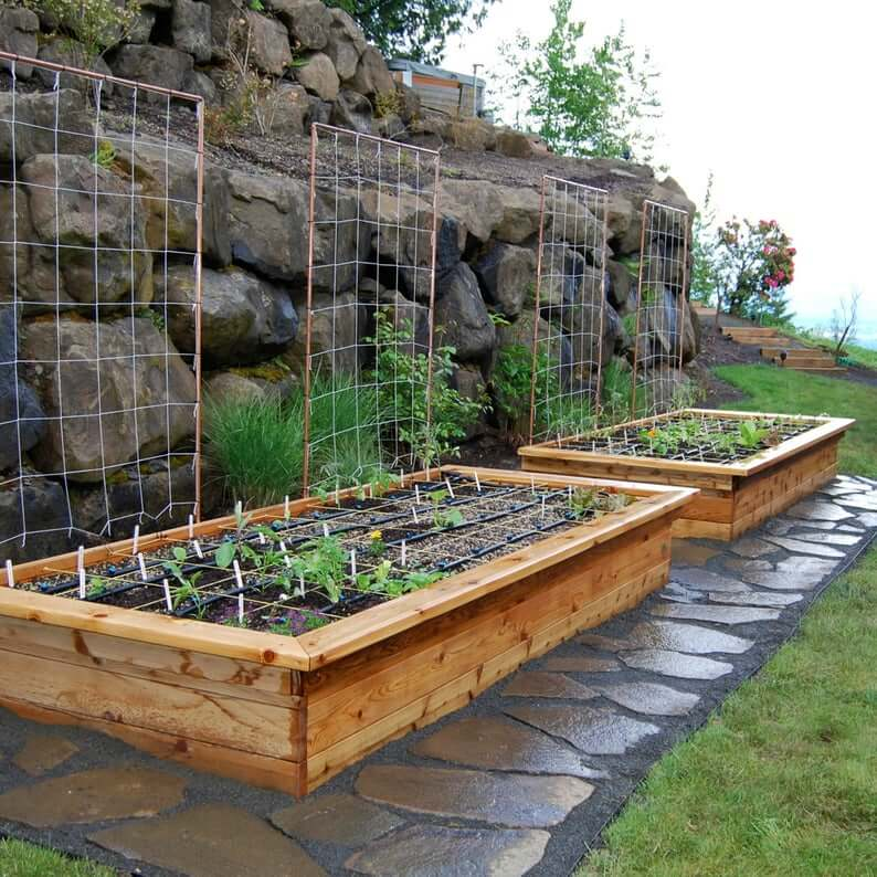Raised Garden Beds with Seats