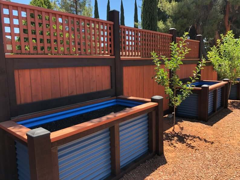 Raised Flower Beds with Fence