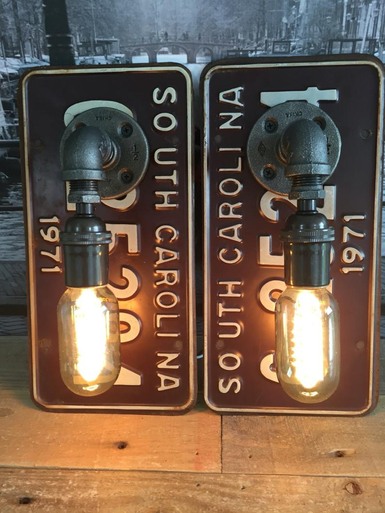License Plate Wall Sconces