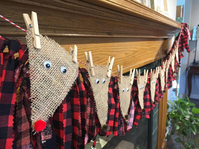 Burlap reindeer garland