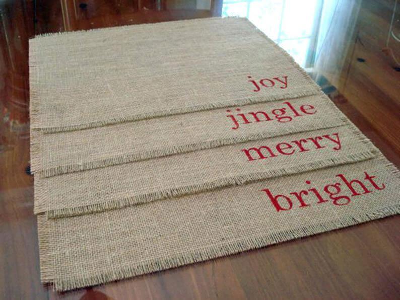 Burlap Christmas placemats