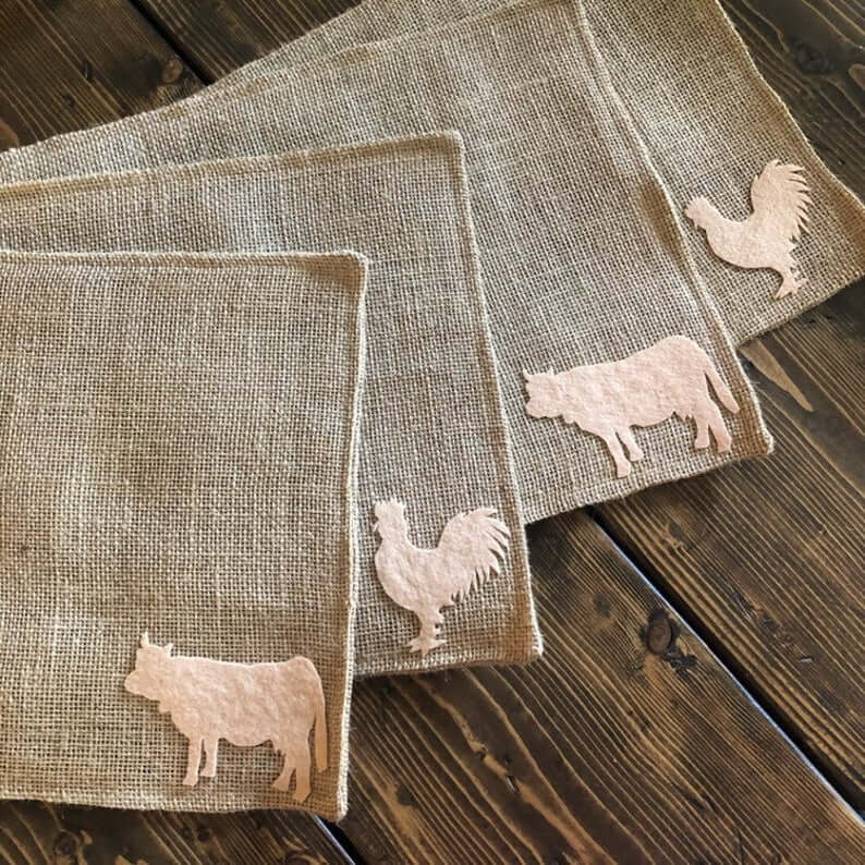 Burlap placements with farm animal appliques