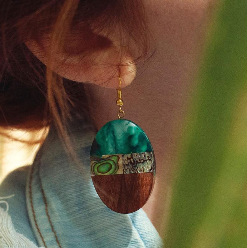 Paua Shell Earrings with Wood