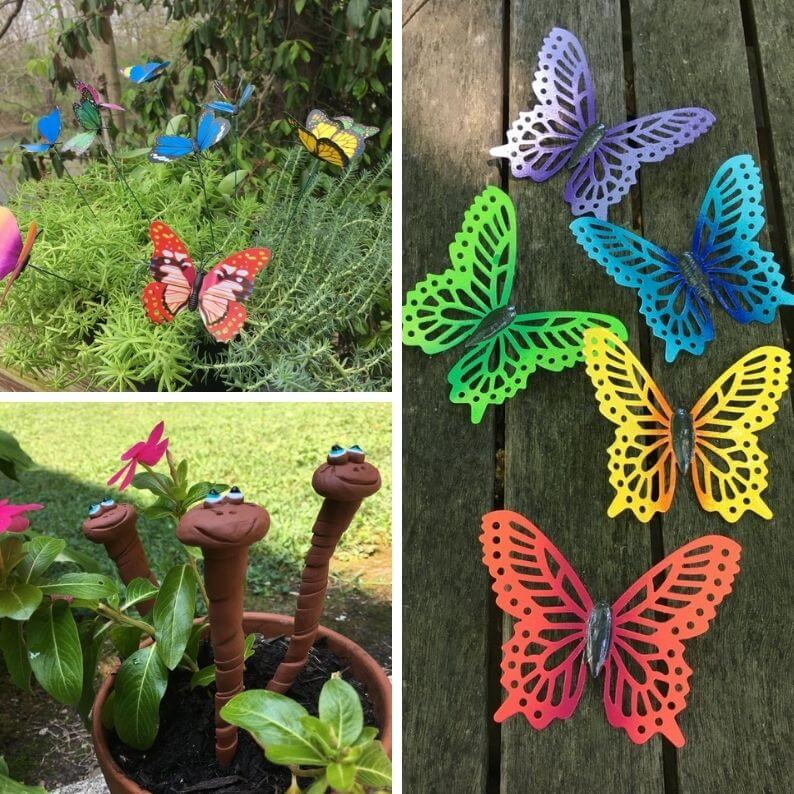 Whimsical garden art | butterfly fence art | butterfly garden stakes