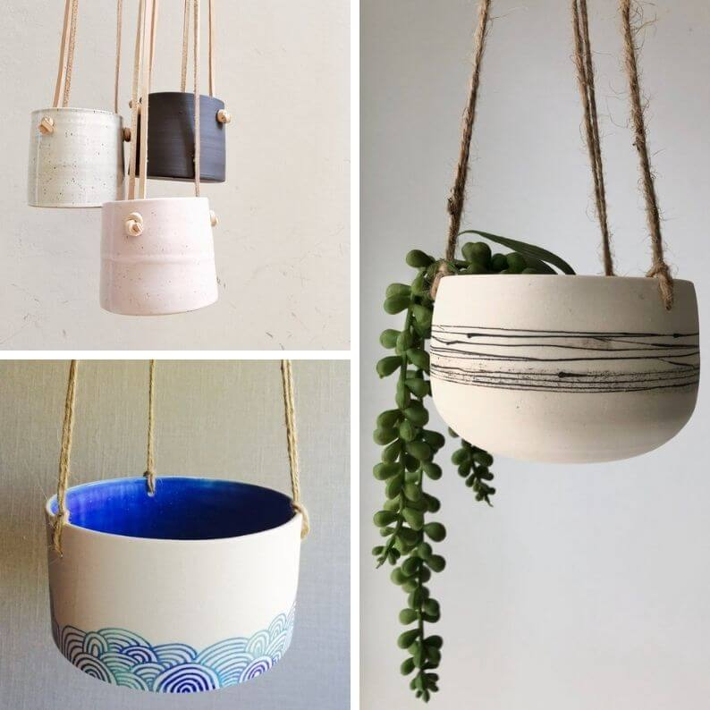 Beautiful ceramic hanging planters