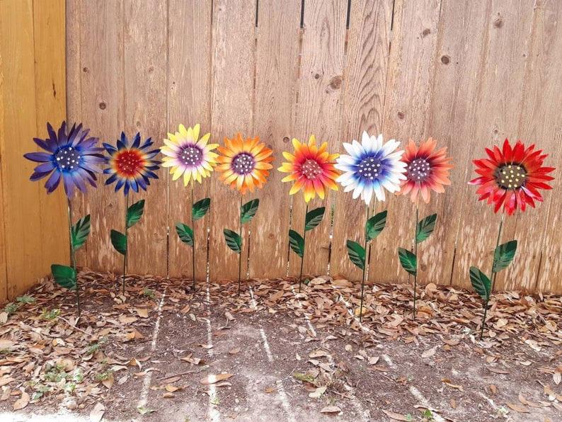 Metal flower garden stakes
