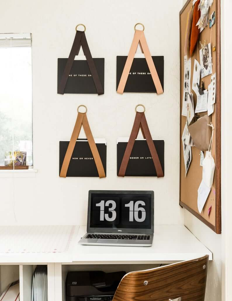 Leather hanging file storage