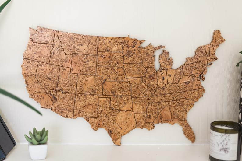 Cork map of United States