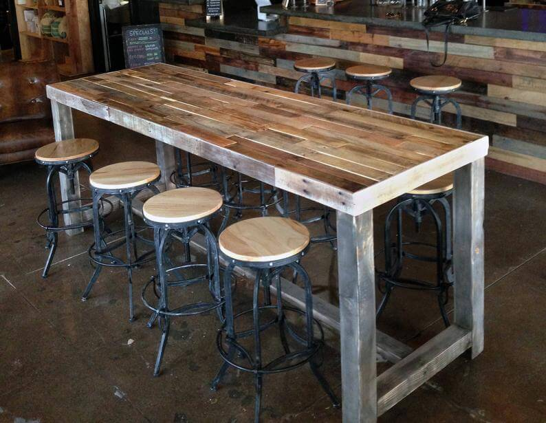 Wood Table with Stools