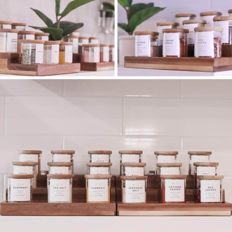 Glass Spice Jars with Bamboo Lids